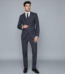 reiss bagley - modern fit checked blazer in indigo, mens, size 46