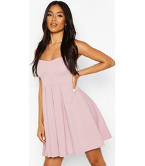 cupped pleated skater dress, lilac