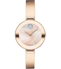 women's movado bold pave dot bangle watch, 28mm
