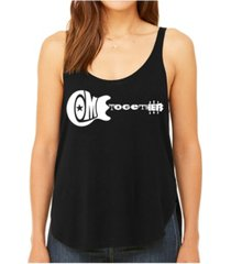 la pop art women's premium word art flowy tank top- come together