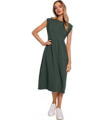 lange jurk moe m581 hoge taille mouwloze jurk - militair groen