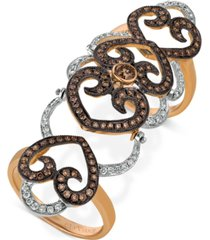 le vian chocolatier diamond knuckle ring (1-1/3 ct. t.w.) in 14k rose and white gold