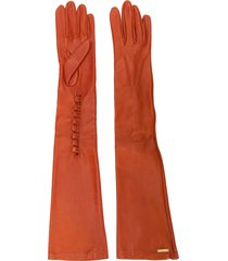 dsquared2 calf leather long gloves - orange