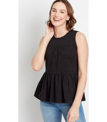 maurices womens eyelet solid babydoll tank top