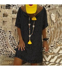 zanzea vestido de playa con cuello en v de manga corta para mujer fiesta mini vestido suelto de verano -negro