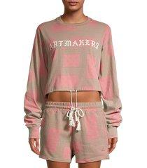eleven paris women's art makers cotton sweatshirt - almond multi - size l