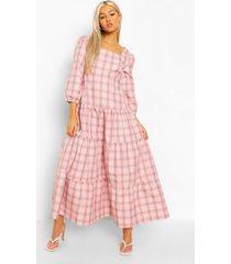 tall geruite gesmokte jurk met laagjes, light pink