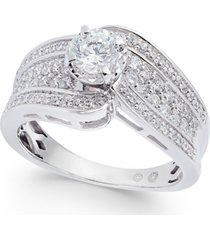 diamond wide swirl engagement ring (1 ct. t.w.) in 14k white gold