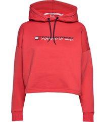 cropped fleece hoody hoodie trui rood tommy sport