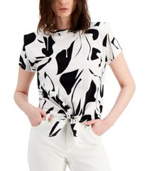 inc cotton printed tie-front shoulder pad top, created for macy's