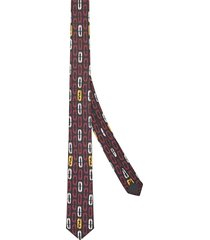 fendi oval pattern skinny tie - black