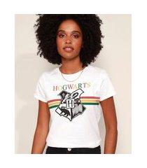 camiseta feminina harry potter hogwarts manga curta decote redondo off white
