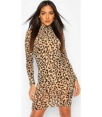 leopard flocked mesh bodycon dress, camel