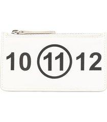 maison margiela logo-print card-holder wallet - white