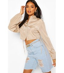 drawcord cropped woven shirt, stone
