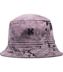 off-white tie-dyed denim bucket hat - purple