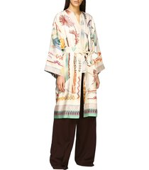 etro jacket etro cardigan in printed silk with belt
