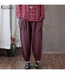 zanzea mujeres de cintura alta sólidos básicos pierna recta pantalons pantalones pantalones -púrpura