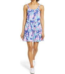 women's lilly pulitzer loro floral knit sundress, size x-large - blue