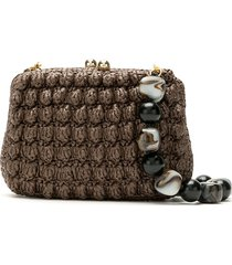 serpui crochet straw clutch bag - brown