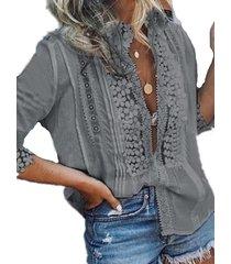 camicetta cava patchwork in pizzo tinta unita per donna