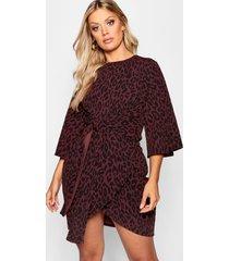 plus leopard kimono tie waist wrap dress, brown