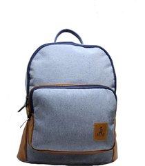 mochila em moletom azul estonado com bolso com detalhes caramelo