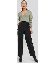na-kd trend big front pocket pants - black