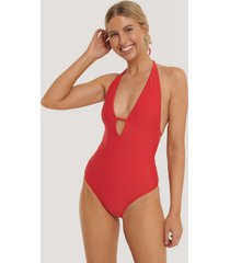 na-kd swimwear deep v-cut swimsuit - red