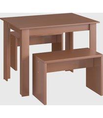 conjunto mesa 2 bancos ceramic mã³veis canã§ã£o marrom - marrom - dafiti