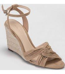 amaro feminino sandália anabela cruzada, bege