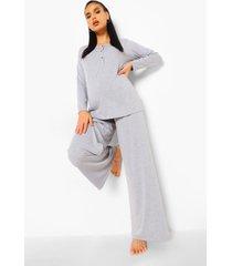 zwangerschap borstvoeding pyjama set met knopen, grey