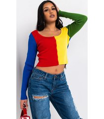 akira paxton colorblock ribbed knit button up top