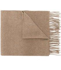 pringle of scotland cashmere slim knit scarf - brown