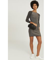 reiss marina - metallic knitted bodycon dress in black/gold, womens, size xl