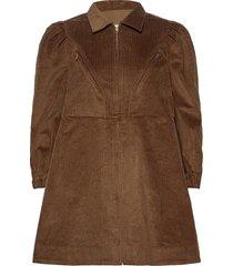 corduroy mini dress jurk knielengte bruin by ti mo