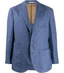 brunello cucinelli regular-fit multi-pocket blazer - blue