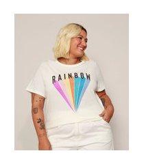 """camiseta feminina plus size rainbow"""" manga curta off white"""""""