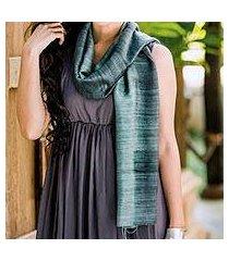 silk scarf, 'bold teal' (thailand)
