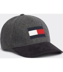 tommy hilfiger men's icon flag cap dark grey melange -