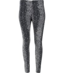 leggings gris estampado semi rombos color negro, talla l