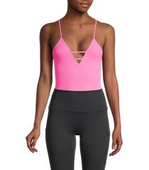 free people movement women's dance all day bodysuit - tropical pink - size xs/s