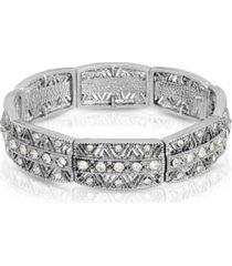 2028 silver-tone crystal stretch bracelet
