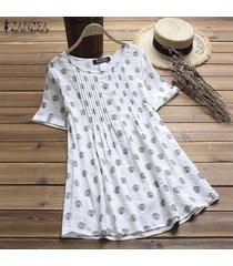 zanzea mujeres vintage retro pullover top tee camiseta algodón polka dot flare túnica blusa -blanco