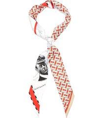'explorer tb' monogram silk ribbon scarf