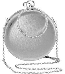 bolsa clutch liage redonda alã§a removãvel argola punho metalizada metal strass cristal pedra prata - prata - feminino - dafiti