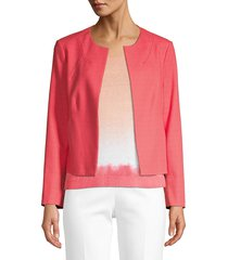 piazza sempione women's open front cotton-blend jacket - rosso - size 46 (12)