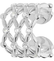 anello regolabile big in ottone rodiato e brillanti per donna