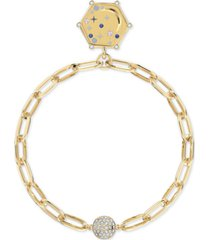 swarovski gold-tone crystal moon/imaginative air medallion magnetic link bracelet