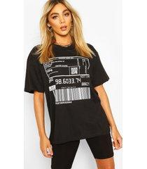 barcode print t-shirt, black